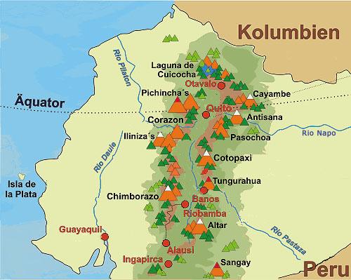 Karte Vulkane Ecuador