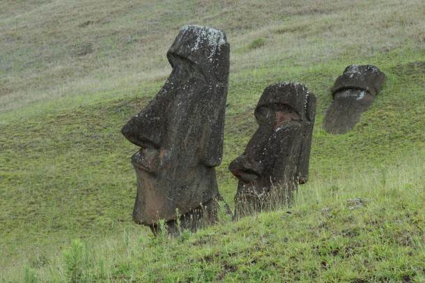 Chile - Easter Island, unfinished Moais at Rano Raraku