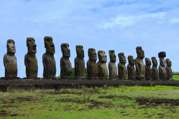 Chile - Easter Island, 15 Moais of Ahu Tongariki