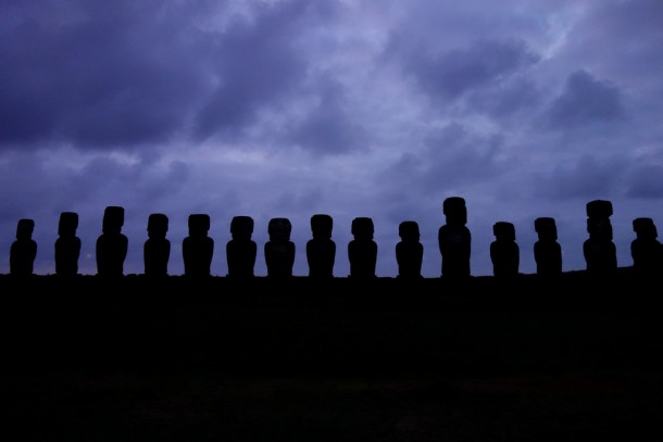Chile - Easter Island, Cloudy sunrise at Ahu Tongariki