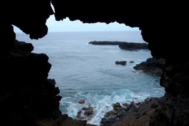 Chile - Easter Island, view out of Ana Kio (Cavern of the two windows)